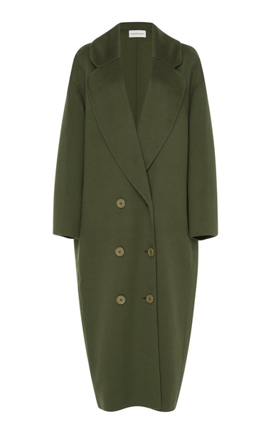 Mansur Gavriel Oversized Double-Breasted Cashmere Coat in green