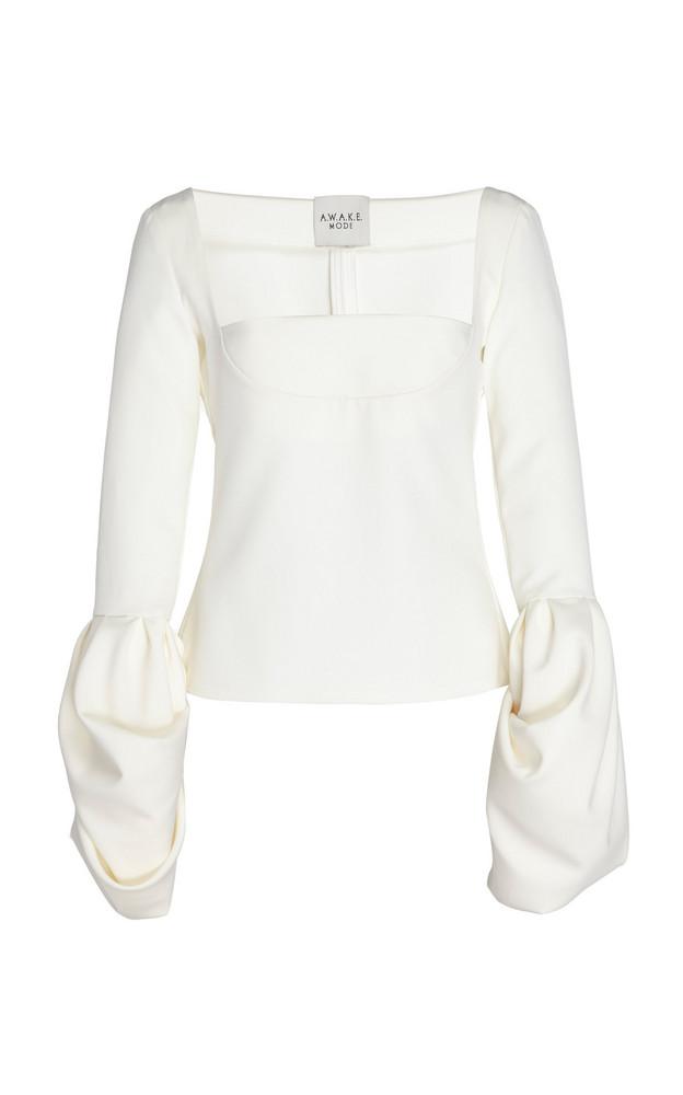 A.W.A.K.E. A.W.A.K.E. Fitted Puff Crepe Top in white