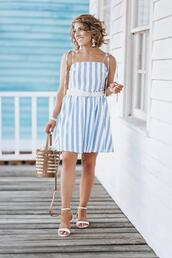 something delightful,blogger,dress,jewels,sandals,striped dress,summer outfits
