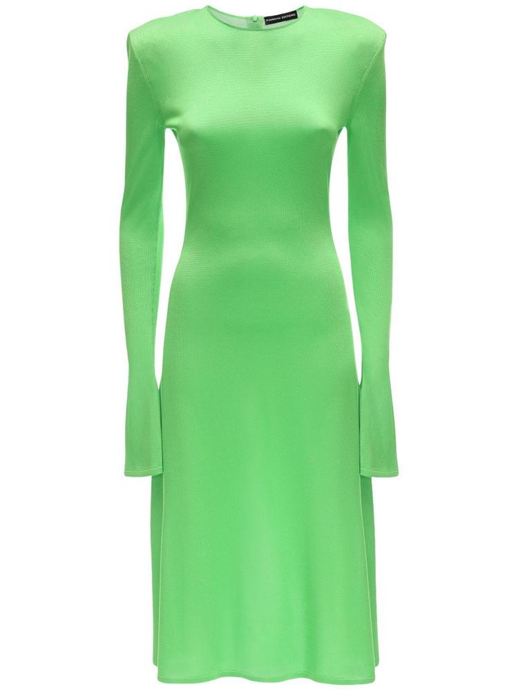 KWAIDAN EDITIONS Flared Sleeve Knit Viscose Midi Dress in green