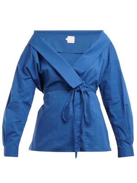 Stella Jean - Tie Waist Stretch Cotton Wrap Top - Womens - Blue