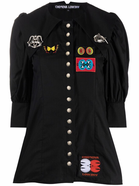 Chopova Lowena logo-patch shirt - Black