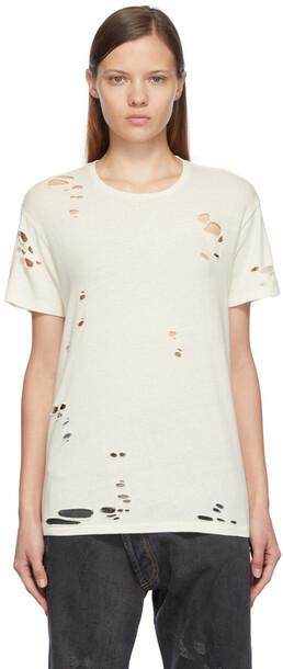 R13 Off-White Destroyed Boy T-Shirt in ecru
