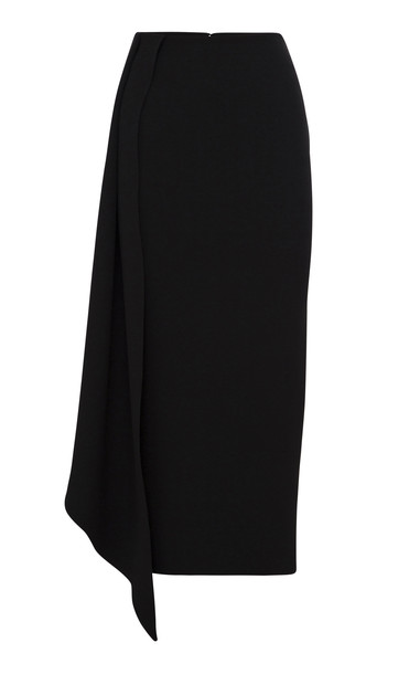 Alex Perry Keene Asymmetric Cady Midi Skirt Size: 4 in black