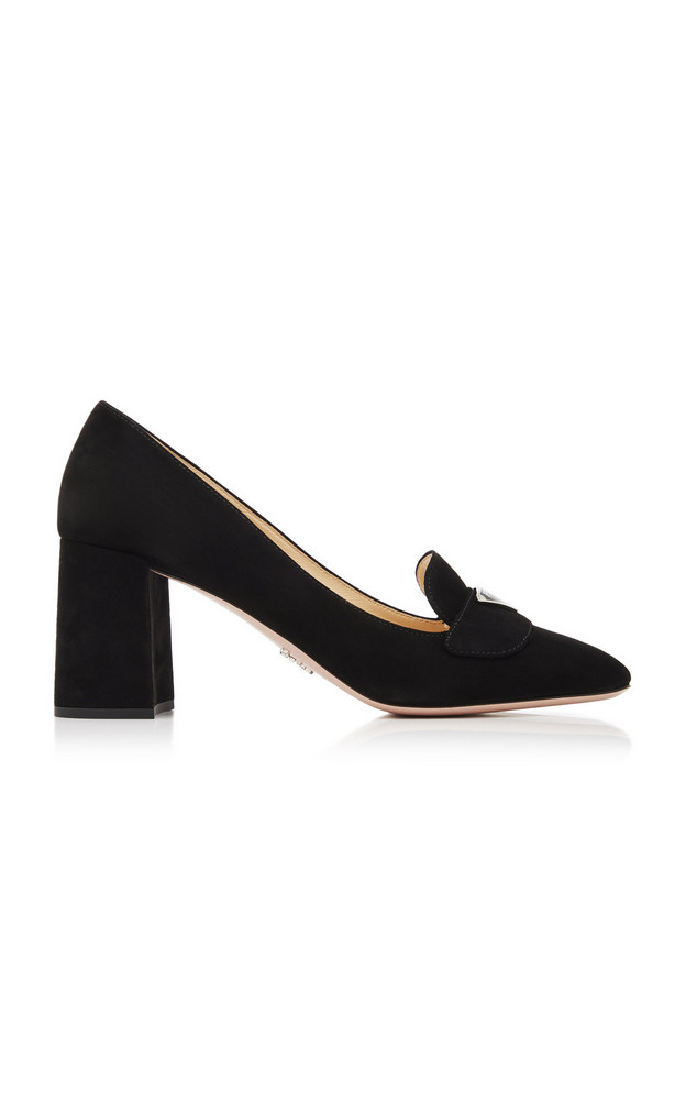 Prada Logo Suede Block-Heel Pumps in black