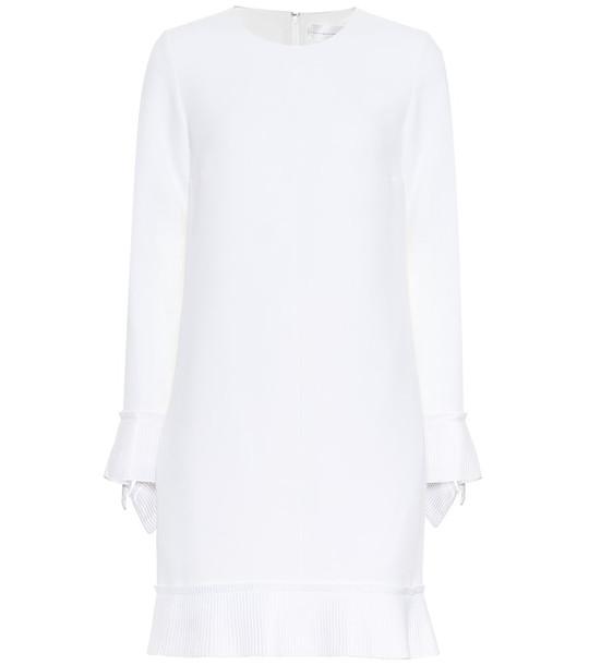 Victoria Victoria Beckham Long-sleeved crêpe minidress in white