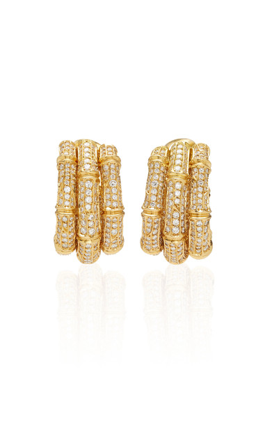 Vintage Cartier Bamboo Diamond Earrings in gold