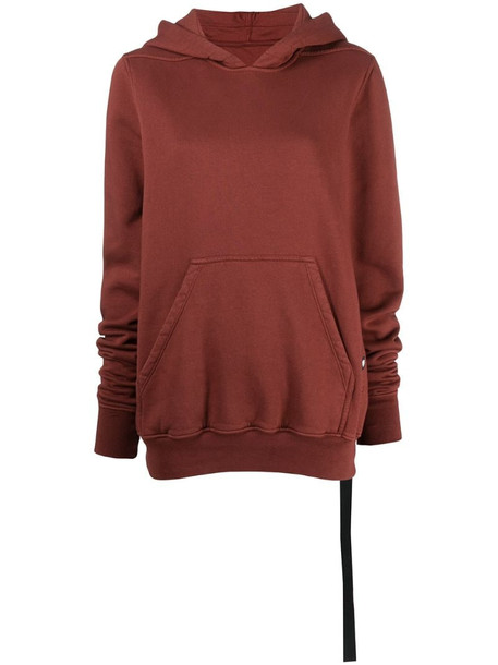 Rick Owens DRKSHDW reverse-drawstring cotton hoodie in red