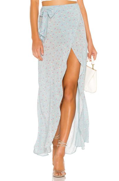 LoveShackFancy Jolene Silk Skirt in blue