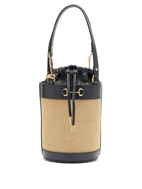Gucci - 1955 Horsebit Leather And Canvas Bucket Bag - Womens - Navy Multi