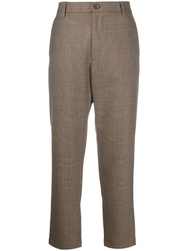 Barena cropped check-print trousers in brown