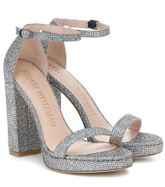 Stuart Weitzman Nearlynude 120 plateau sandals in silver