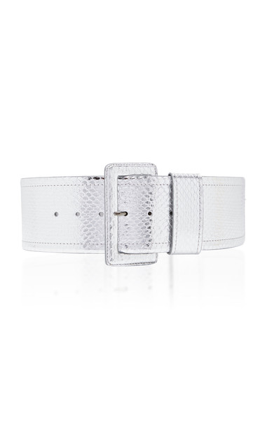 Carolina Herrera Snakeskin Waist Belt in silver
