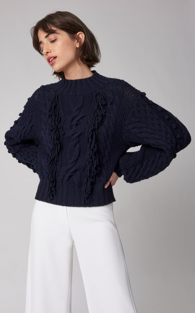 Carolina Herrera Fringed Cable-Knit Wool Sweater in black
