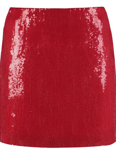 Alberta Ferretti Sequins Mini Skirt in red