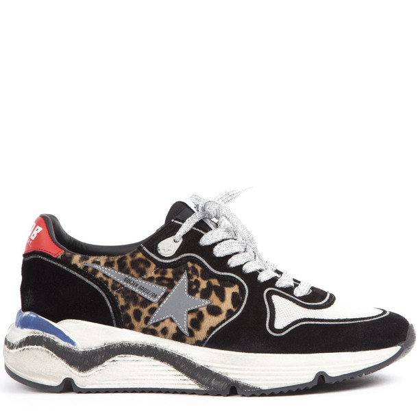 Golden Goose Leopard Printed Running Sneakers In Suede And Mesh
