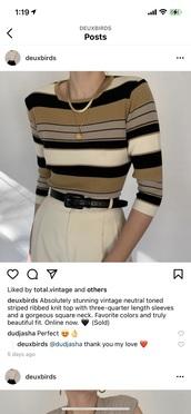 shirt,pattern,brown,black,horizontal lines,crewneck sweater