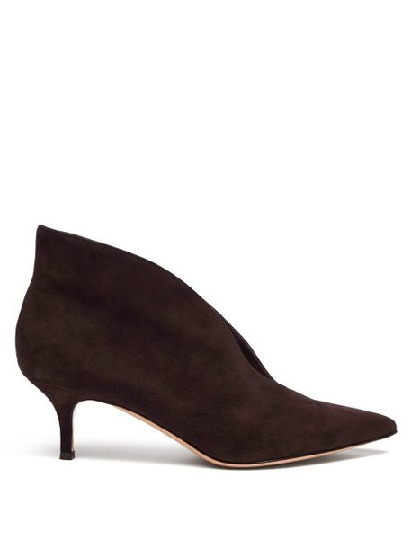 Gianvito Rossi Vania 55 Suede Ankle Boots Womens Dark