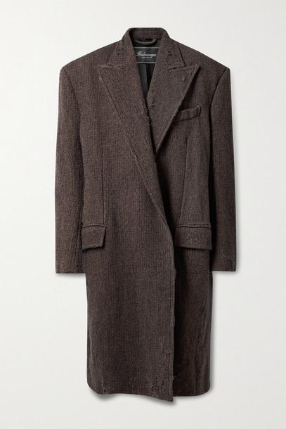 BALENCIAGA - Oversized Distressed Wool-tweed Coat - Brown