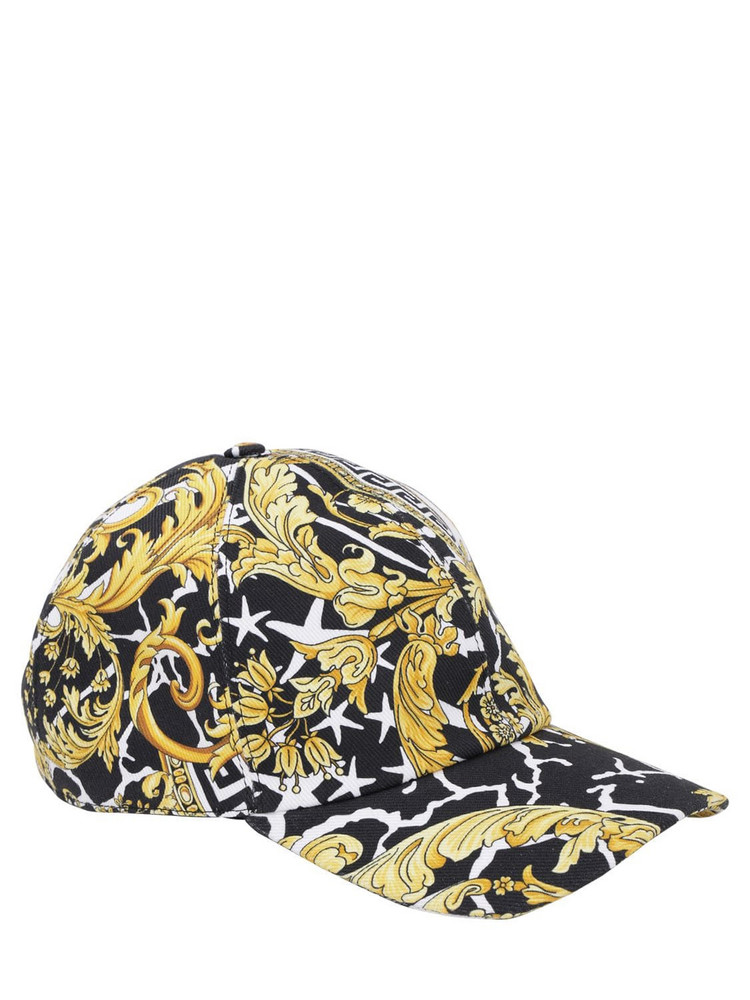 VERSACE Barocco & Star Print Cotton Baseball Hat in black