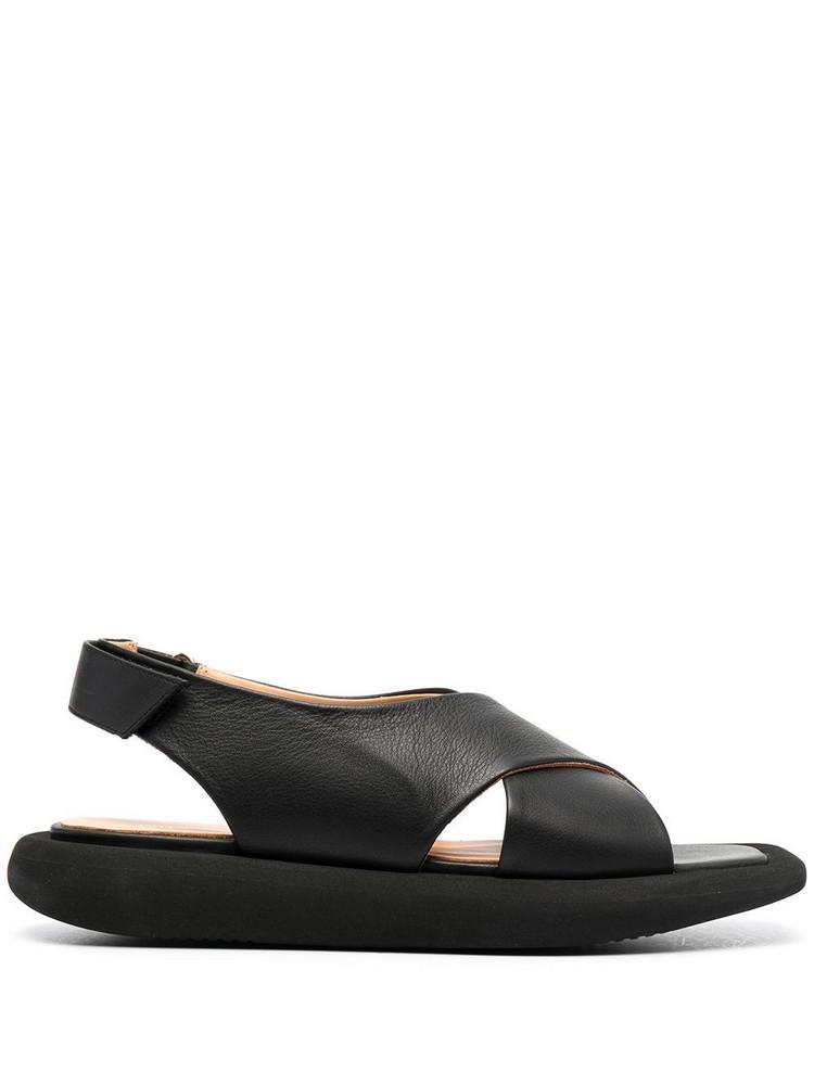 Paloma Barceló Paloma Barceló square-toe leather sandals - Black