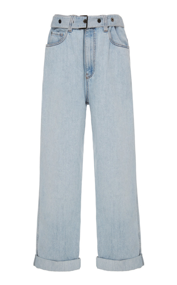 Brunello Cucinelli Belted High-Waisted Cropped Straight-Leg Jeans in white