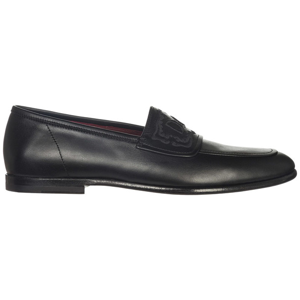 Dolce & Gabbana Men's Leather Loafers Moccasins King City in nero