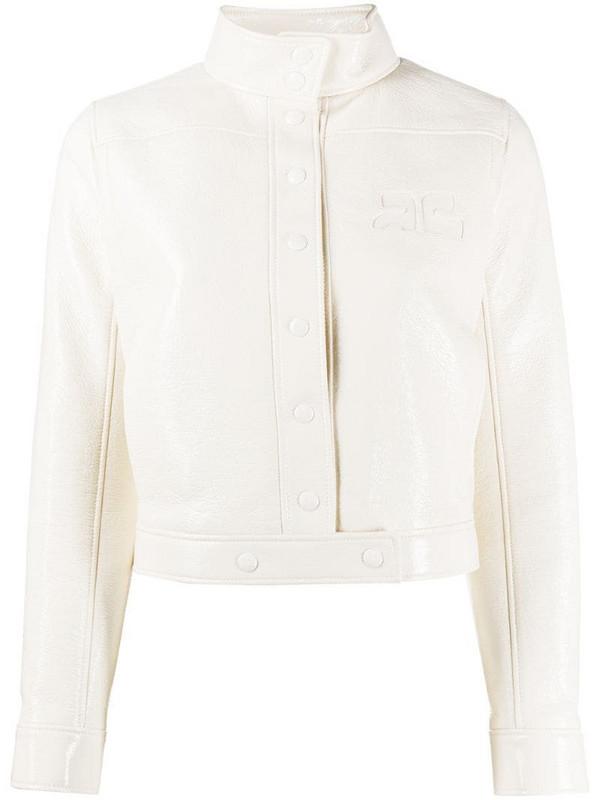 Courrèges logo chest jacket in white