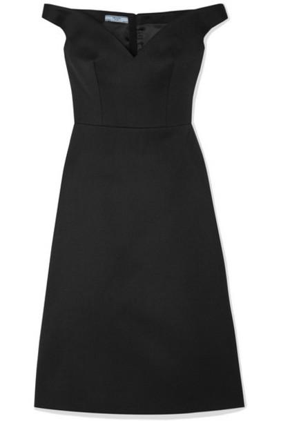 Prada - Off-the-shoulder Wool Dress - Black