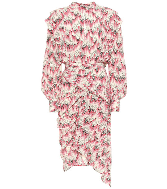 Isabel Marant Rieti printed stretch-silk dress in pink
