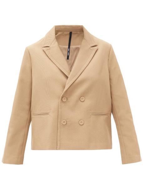Sara Lanzi - Oversized Double-breasted Wool-blend Jacket - Womens - Beige