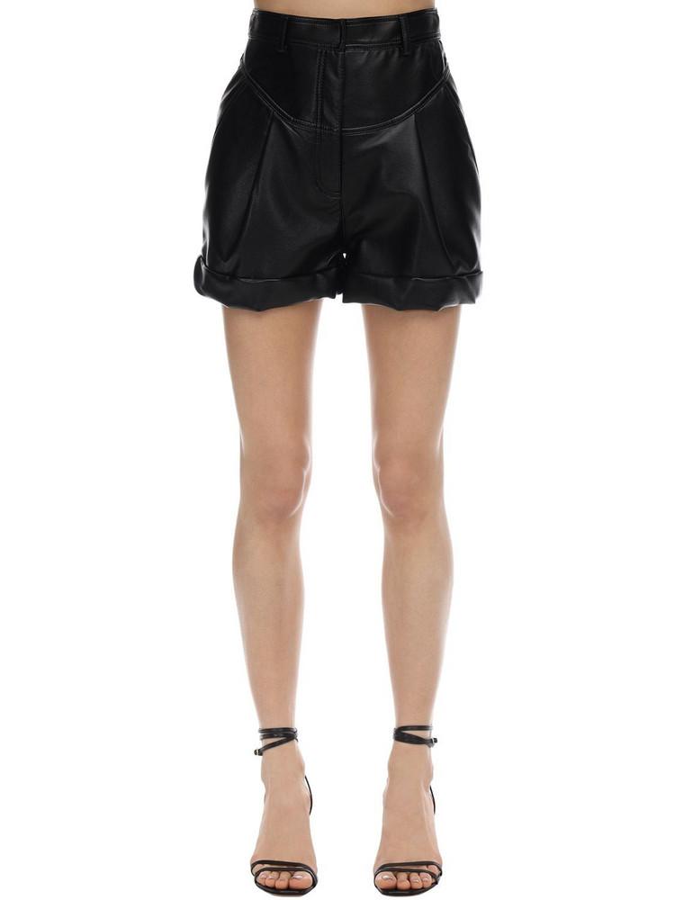 PHILOSOPHY DI LORENZO SERAFINI Faux Leather Shorts in black