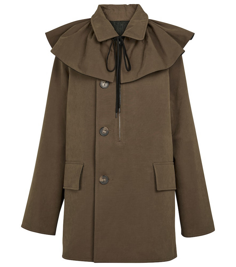 Tod's Ruffle-trimmed canvas coat in green