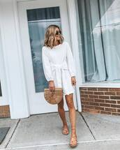 dress,white dress,mini dress,long sleeve dress,flat sandals,handbag,wood