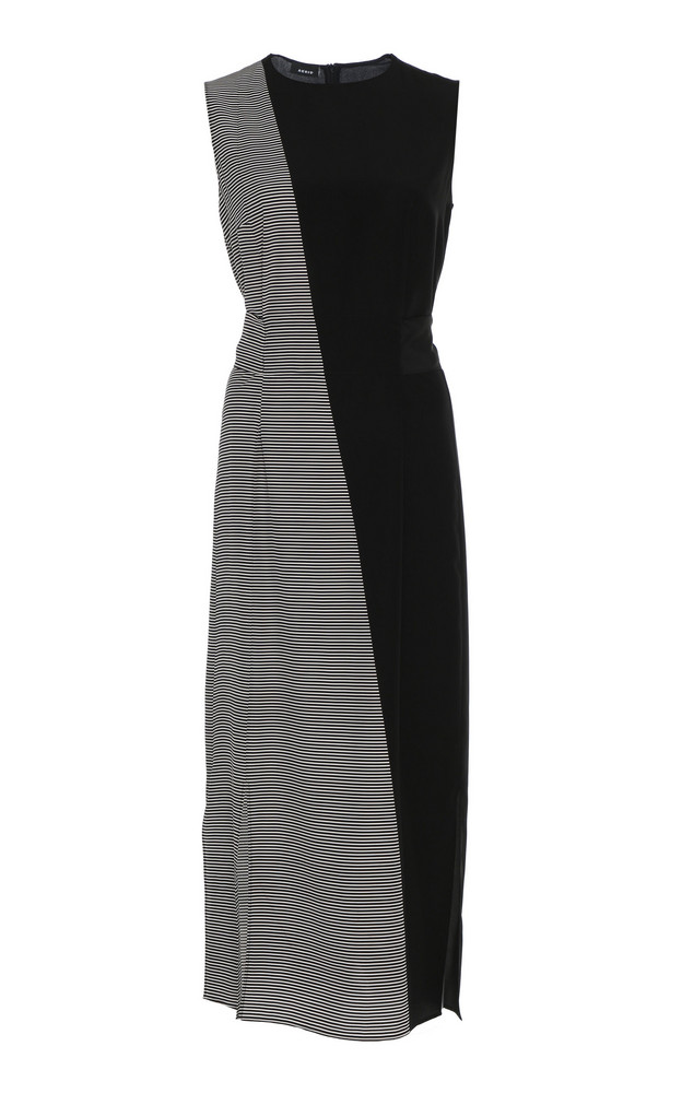 Akris Patterned Silk Crepe Midi Dress in black