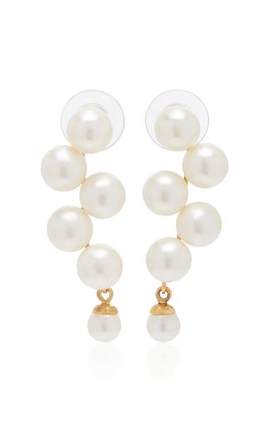 Jennifer Behr Marcella Faux Pearl Earrings in metallic