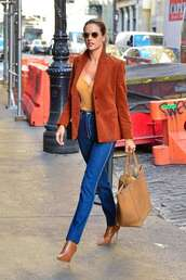 jacket,alessandra ambrosio,celebrity,model off-duty,fall outfits,fall colors,denim,jeans,boots,streetstyle,blazer