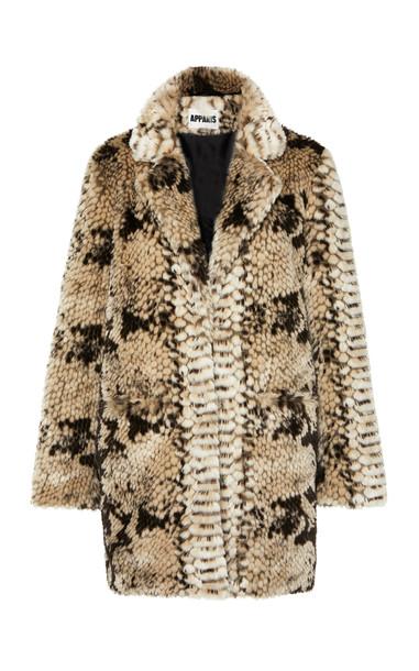 Apparis Sydney Snake-Print Faux Fur Coat Size: XS