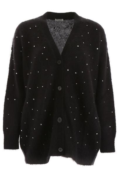 Miu Miu Crystal-embellished Cardigan in black