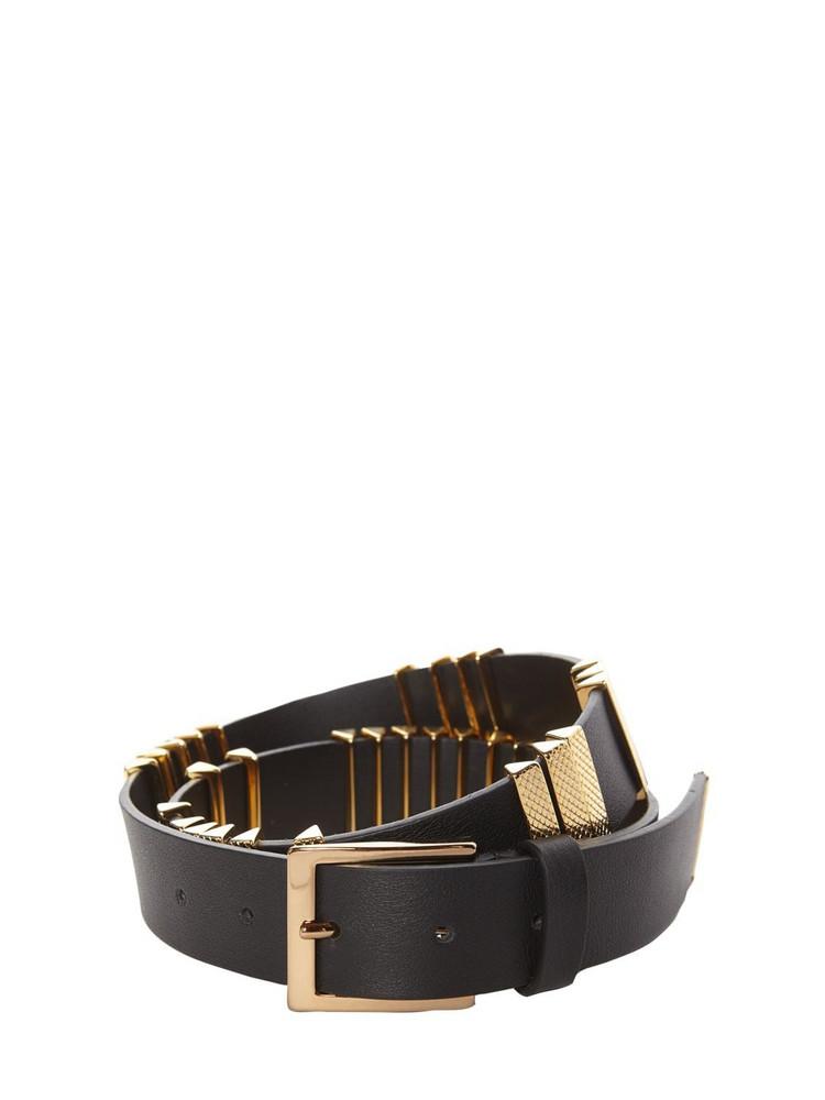 ALBERTA FERRETTI 3.5cm Leather Belt W/ Gold Studs in black