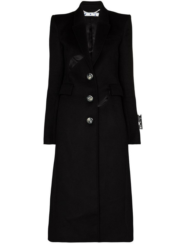 Off-White cut-out tailored single-breasted coat in black