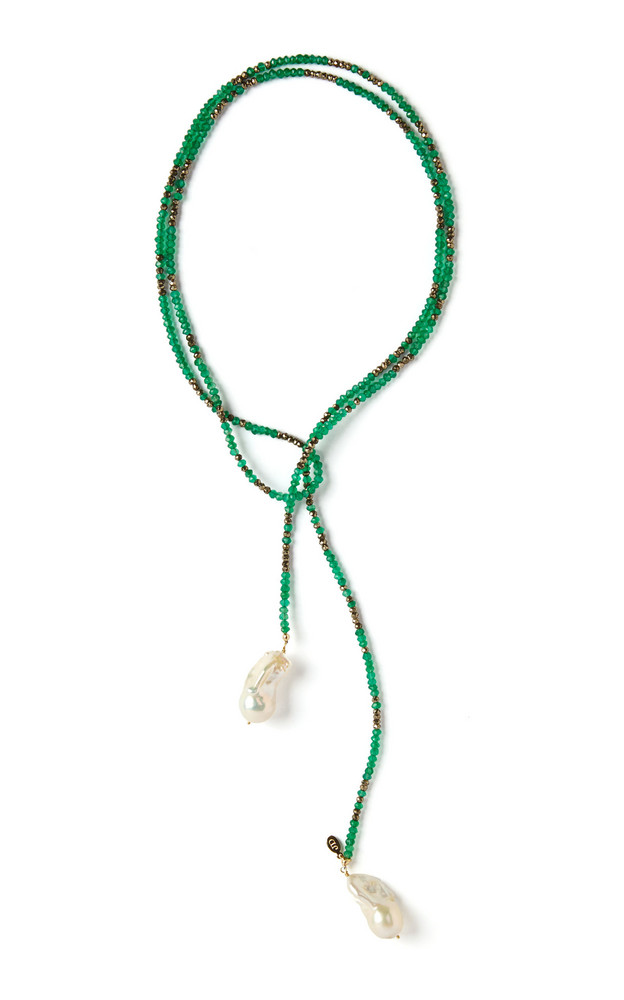 Joie DiGiovanni Onyx, Pyrite And Pearl Lariat Necklace in green
