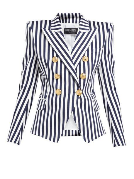 Balmain - Striped Double Breasted Cotton Blazer - Womens - Navy White