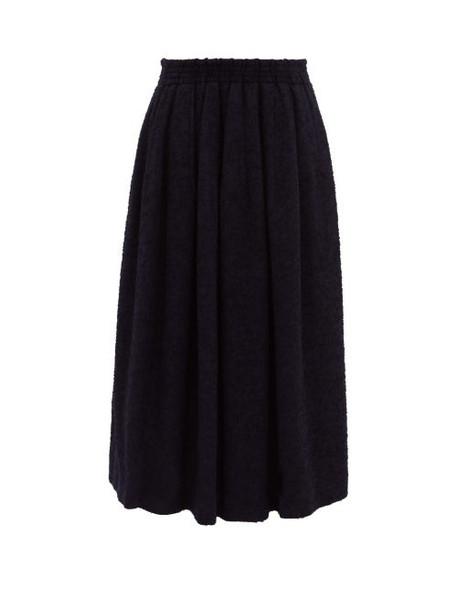 Raey - Elasticated Back Textured Full Skirt - Womens - Navy