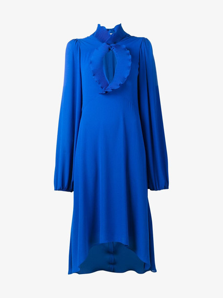 Balenciaga plissé pleated collar dress in blue