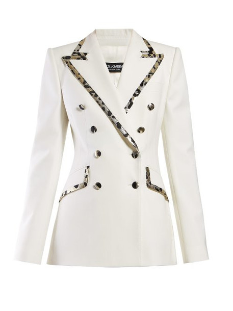 Dolce & Gabbana - Leopard Print Trim Double Breasted Crepe Blazer - Womens - White