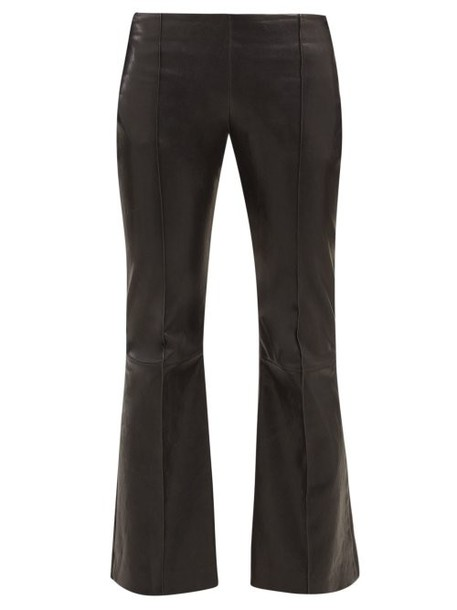 The Row - Cabet Leather Kick Flare Trousers - Womens - Black