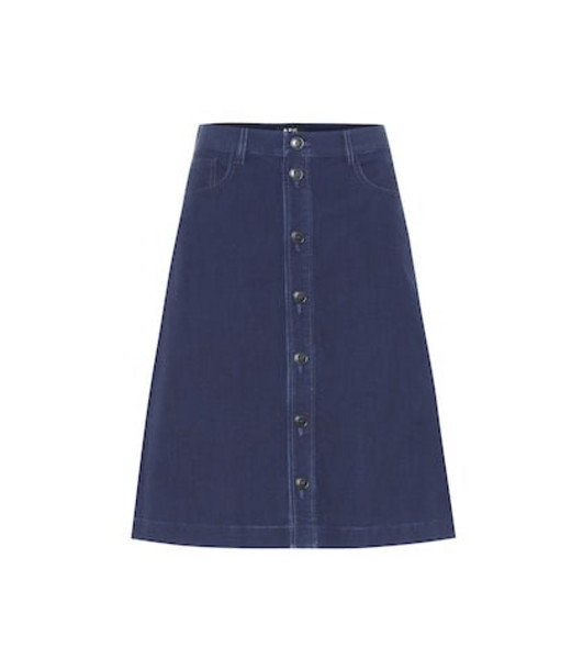 A.P.C. Therese denim midi skirt in blue