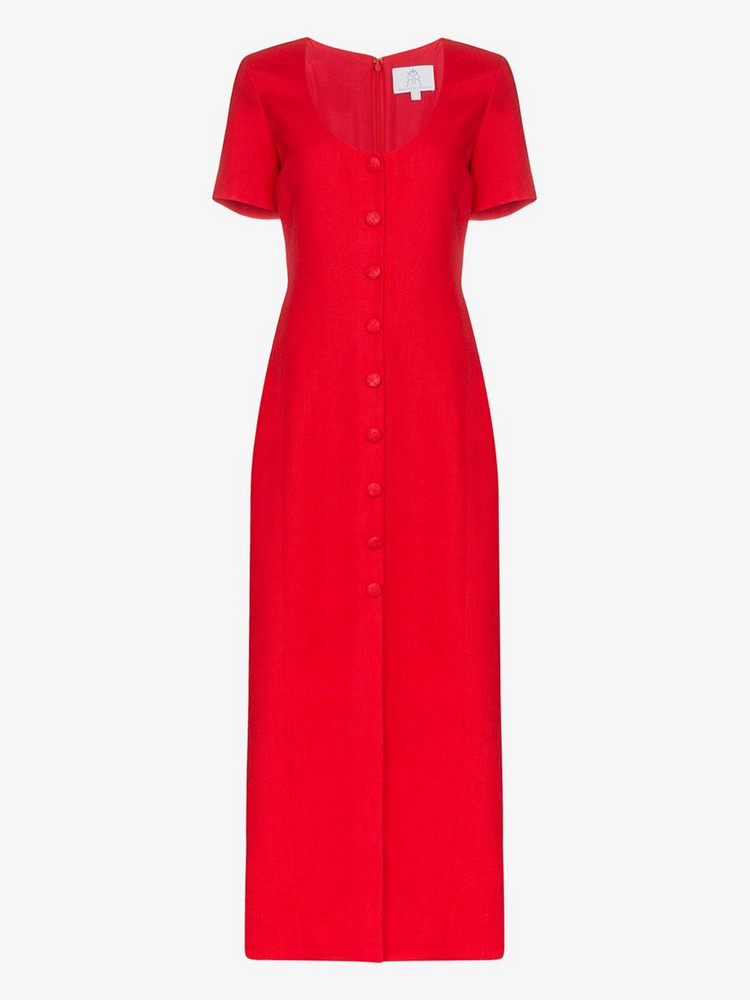 Rebecca De Ravenel Buttoned linen dress in red