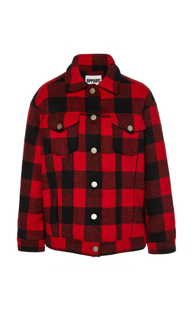 Apparis Kelly Buffalo Check Short Coat in red